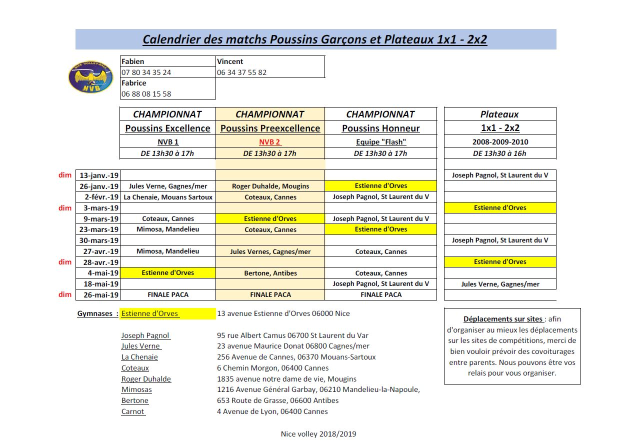 Calendrier Phase 2 M11G